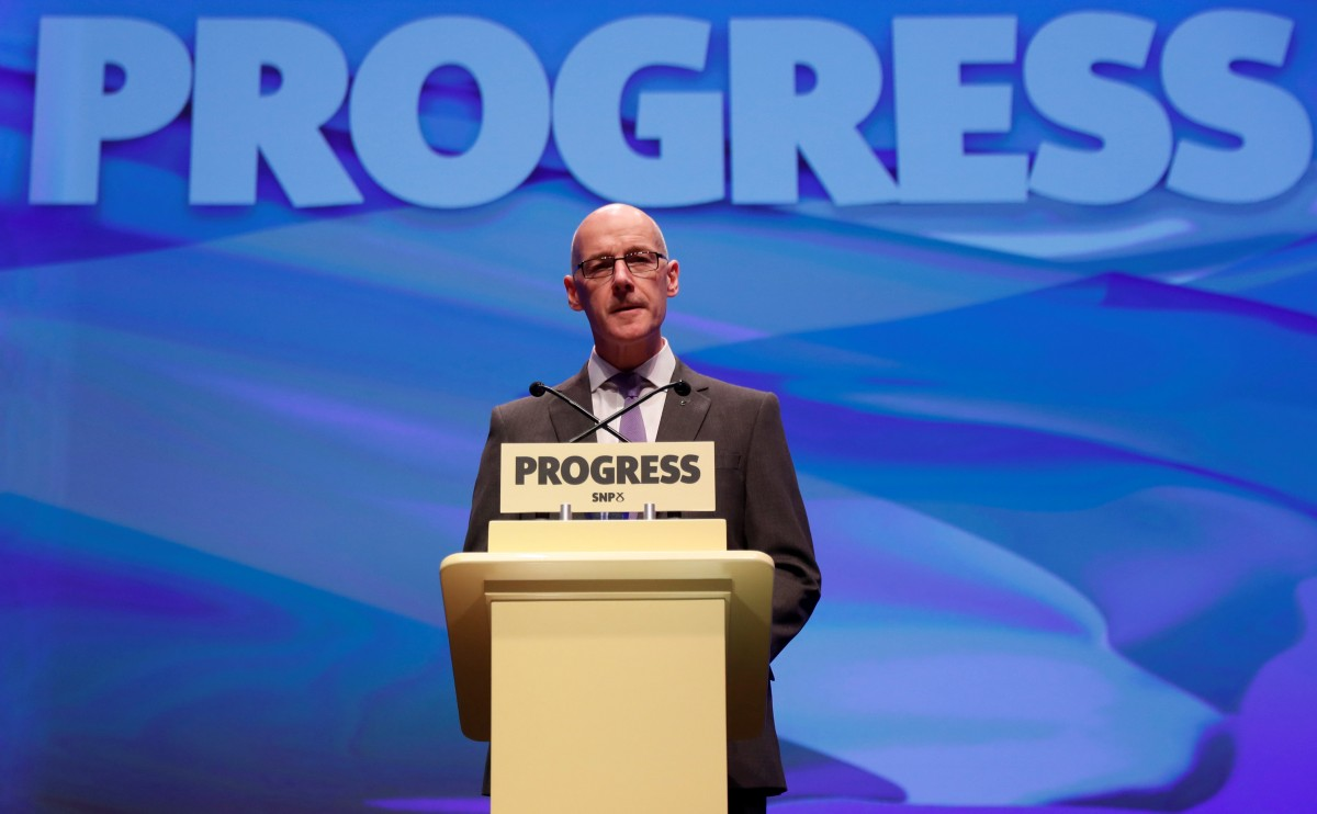 John Swinney speaks at the SNP conference in Glasgow to announce career-change bursary scheme. Source: Reuters.