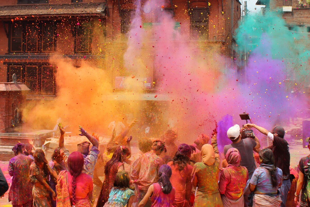 The Holi Festival, a religious 'festival of colours' for Sikhs in India - celebrated all over Asia. Source: Shutterstock.